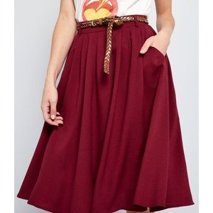 ModCloth Breathtaking Tiger Lilies in Burgundy XS